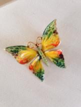 Vintage Weiss Green Orange Yellow Enamel Gold Tone Butterfly Fashion Brooch  - $55.00