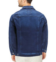 Men's Classic Distressed Casual Button Up Stretch Jean Trucker Denim Jacket image 3