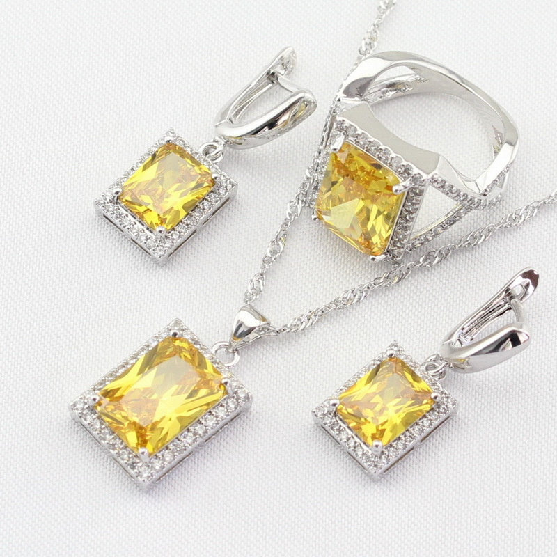 Silver 925 Jewelry Sets For Women Square Yellow Cubic Zirconia Necklace Pendant  image 4