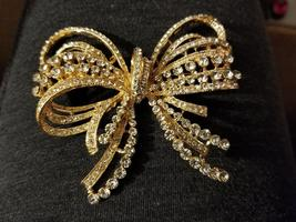 Gold Bow/Butterfly Swarovski Crystal Brooch Pin - $23.00