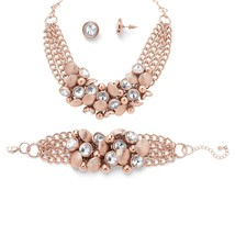 Crystal Necklace, Bracelet and Earrings Set Rose Gold-Plated - $29.99