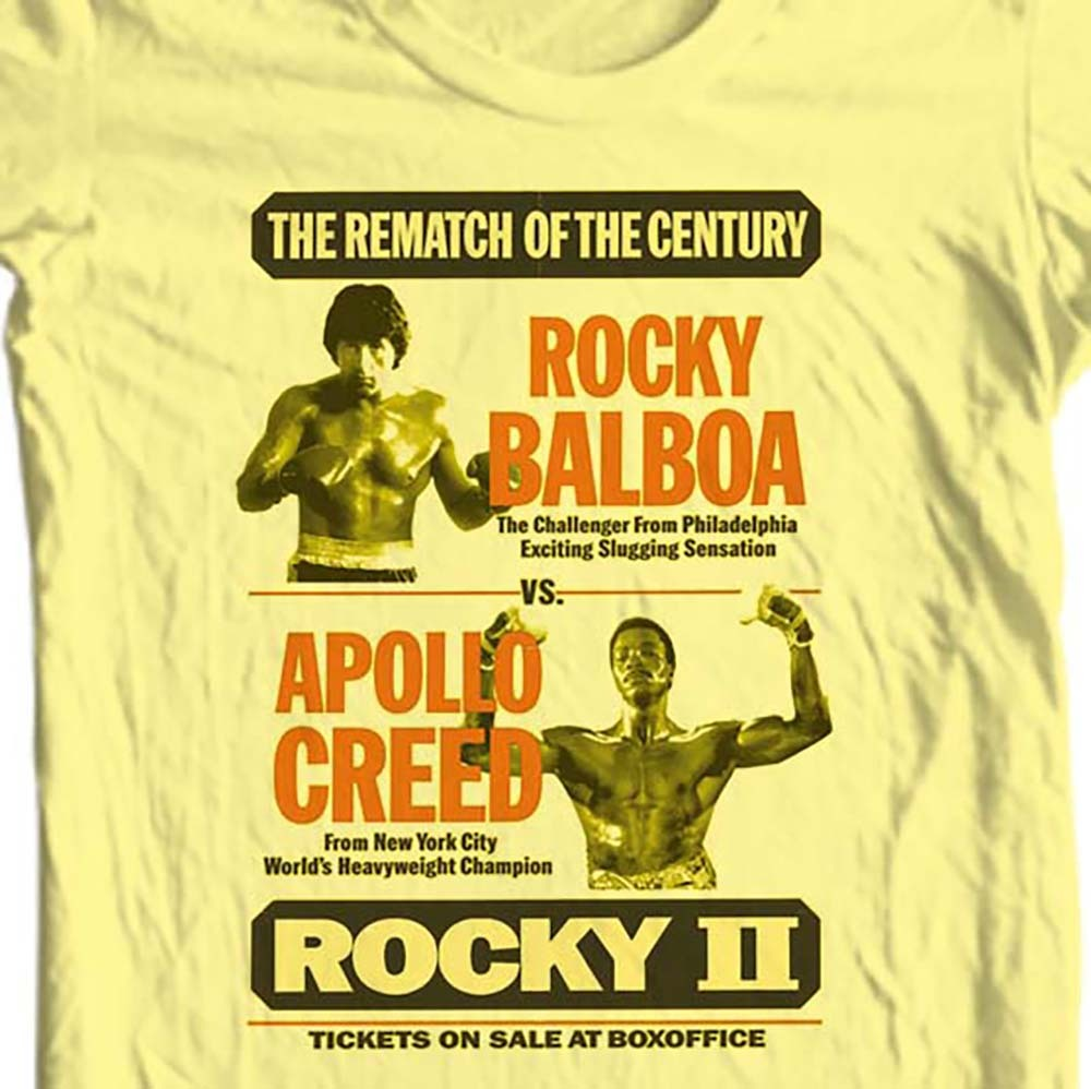 Rocky vs apollo creed fight poster t shirt 80 s retro tee for sale online store yellow