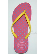 Havaianas Slim Fresh Flip Flop Thong Rubber Sandals Fuchsia with Polka Dots - $17.98