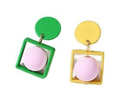 European Style Square Temperament Earrings Asymmetric Earrings,Green