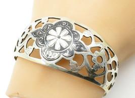 RUSSIA 925 Silver - Vintage Black Enamel Floral Cutout Cuff Bracelet - B... - $93.03