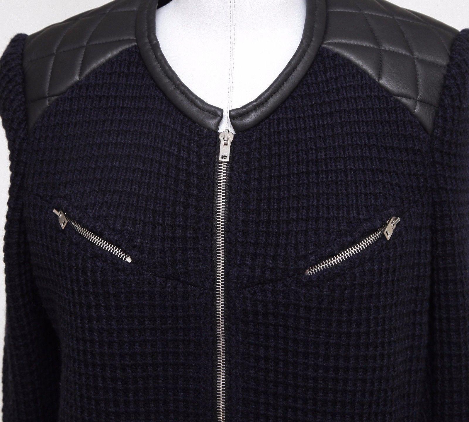 IRO CEYLONA Jacket Coat Leather Knit Black Midnight Blue Long Sleeve Zipper 42