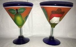 "2 Large Imprinted Mexican Themed Margarita Glasses Blue Base Barware 7"" ... - $19.80"