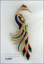 Eisenberg Ice Signed Large Peacock Pin Enamel and Clear Rhinestones (#J1... - $196.97 CAD