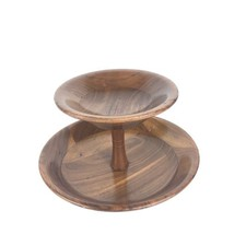 Vintage Two Tier Dish Serving Bowl Tray Solid Walnut Mid Century Modern ... - $39.59