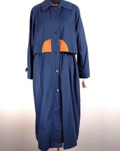 London Fog Womens Limited Edition Trench Coat 10 Navy Blue Lined Leather... - $69.99