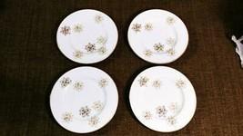 "4 MCM Noritake SNOWFLAKE Gold Green Black Snowflakes 6 5/8"" Bread Butter Plates - $31.99"