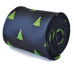 Frederick Thomas navy blue tie with christmas tree design Secret Santa