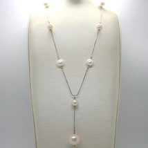 18K WHITE GOLD LARIAT NECKLACE, VENETIAN CHAIN WHITE & PEACH BIG PEARLS 16 MM image 2