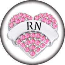Snap button Registered Nurse RN 18mm Cabochon chunk charm Heart - $6.73