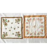 2 Vintage Floral Border Print Handkerchiefs •Cotton Hanky Set Ivory w/ ... - $9.85