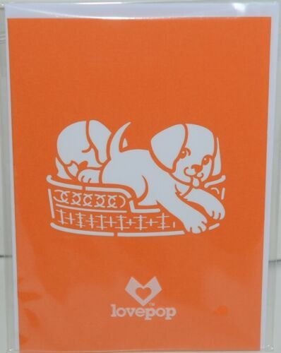 Lovepop LP1535 Dog Family Pop Up Card White Envelope Cellophane Wrapped