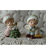 Homco 5556 Christmas Porcelain Figurine Boy Girl Vintage  - $9.69