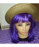 Authentic Vintage Eric Javits Straw Hat with small Purple Flower accent ... - $48.99