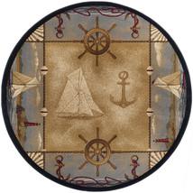 "8' Round (7'10"")  Nautical Lighthouse Sailboat Anchor Tropical Area Rug - $239.50"