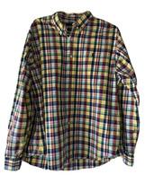 RALPH LAUREN XXL custom fit cotton long sleeve Button Up Shirt Blue Yell... - $39.97