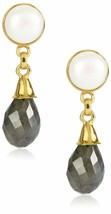 Saachi Gold-Tone Freshwater Cultured Pearl & Labradorite Drop Earrings