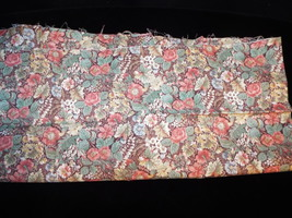 1/2 Yd Vintage Floral Quilt Fabric Pink Brown Flowers on Brown Background  - $5.99
