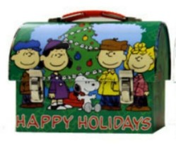 Peanuts Christmas Happy Holidays Workmans Small Tin Tote Lunchbox NEW UN... - $6.89