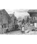 SWITZERLAND Meyringen Place of Sherlock Holmes Demise !! Antique Print - $26.01