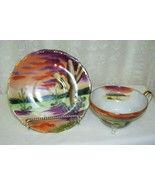Handpainted China Lefton Cup and Saucer Painted Desert Scene - $38.70