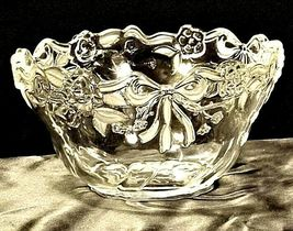 Vintage heavy etched glass bowl with ribbon and flower designs AA19-LD11916 image 4