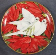 Christmas Doves Collector Plate Maureen Jensen Poinsettias 1991 Franklin Mint - $17.95