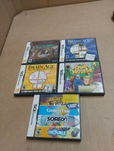 Nintendo DS Games Lot Brain age. 2 mystery case our house sorry trouble e2 - $18.95
