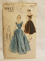 VTG VOGUE Sewing Pattern 7512 1950s EVENING DRESS COCKTAIL DRESS AS IS - $19.79