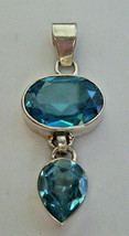925 / 800 siiver blue topaz pendant  (HALLMARKED IN THE UK) - $53.06