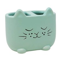 Isaac Jacobs Blue Ceramic Cat Makeup Brush Holder, (2-Section Cup|Pastel... - $19.65