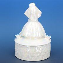 """Vintage Japanese White Pearl Lusterware Bride Trinket Box Figurine 4 3/4"""" Tall image 3"""