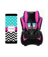 PERSONALIZED BABY TODDLER CAR SEAT STRAP COVERS BLACK CHEVRON BLUE POLKA... - $14.68