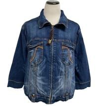 Baby Phat women'c Denim Zipped Jean Jacket full zip Size 2X - $19.69