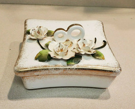 Vintage Lefton's White Rose Floral Dish with Lid Made In Japan - $19.75