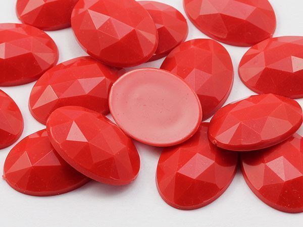 25x18mm Red .RED Flat Back Oval Acrylic Gemstones 20 PCS