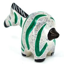 Crafts Caravan Hand Carved Soapstone Chubby White & Green Zebra Figurine Kenya image 3