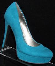 G by Guess 'Winna' teal round toe man made slip on platform heel 6M - $14.53