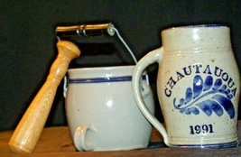 Daviess County Westerwald Stoneware Pitcher & Bowl with handles/ Wood Pestle AA- image 2