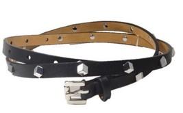 Michael Kors Skinny Leather Belt Silver Studs, Medium 40, Black - $30.00