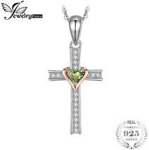 JewelryPalace Heart 0.2ct Genuine Peridot Cross Pendant 925 Sterling Sil... - $45.63