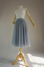 GRAY MIDI Tulle Skirt Women's High Waist Tulle Midi Skirt Bridesmaid Tulle Skirt image 9