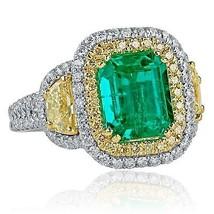 GIA 3.81 TCW Colombian Emerald Octagonal Cut Diamond Engagement Ring 18k White G - $5,939.01