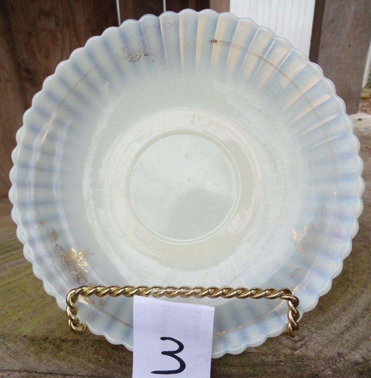 Macbeth-Evans SAUCER 5 7/8 inch Petalware opalescent white gold trim (3) - $3.22
