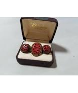 Vintage Antiguo Cornelia China Anillo & Pendientes de Clip Conjunto de J... - $98.81