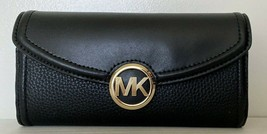 New Michael Kors Fulton Large Flap Continental wallet Leather Black - $75.00